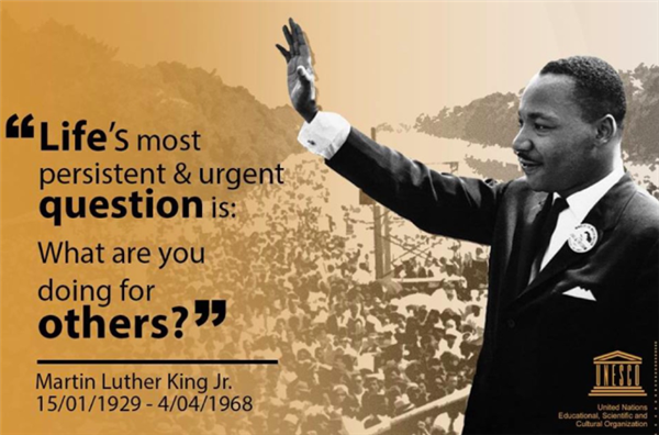 "MLK Quote: ""Life's most persistent and urgent question is: What are you doing for others?"""