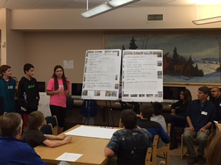 Students presenting new STEM center ideas
