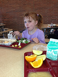 Student enjoying lunch